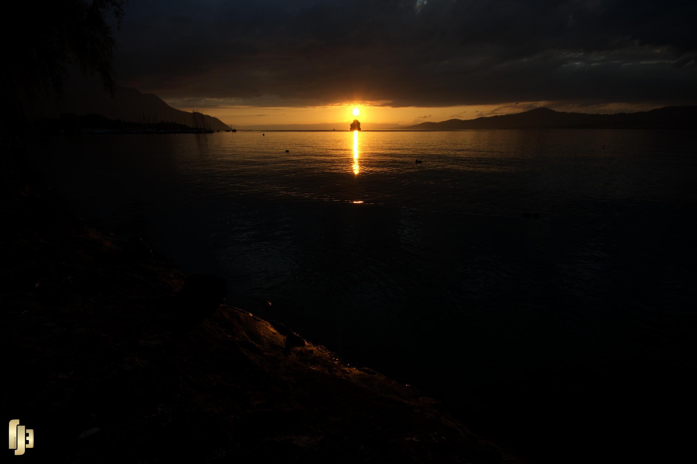Coucher de soleil sur l'île de Peilz